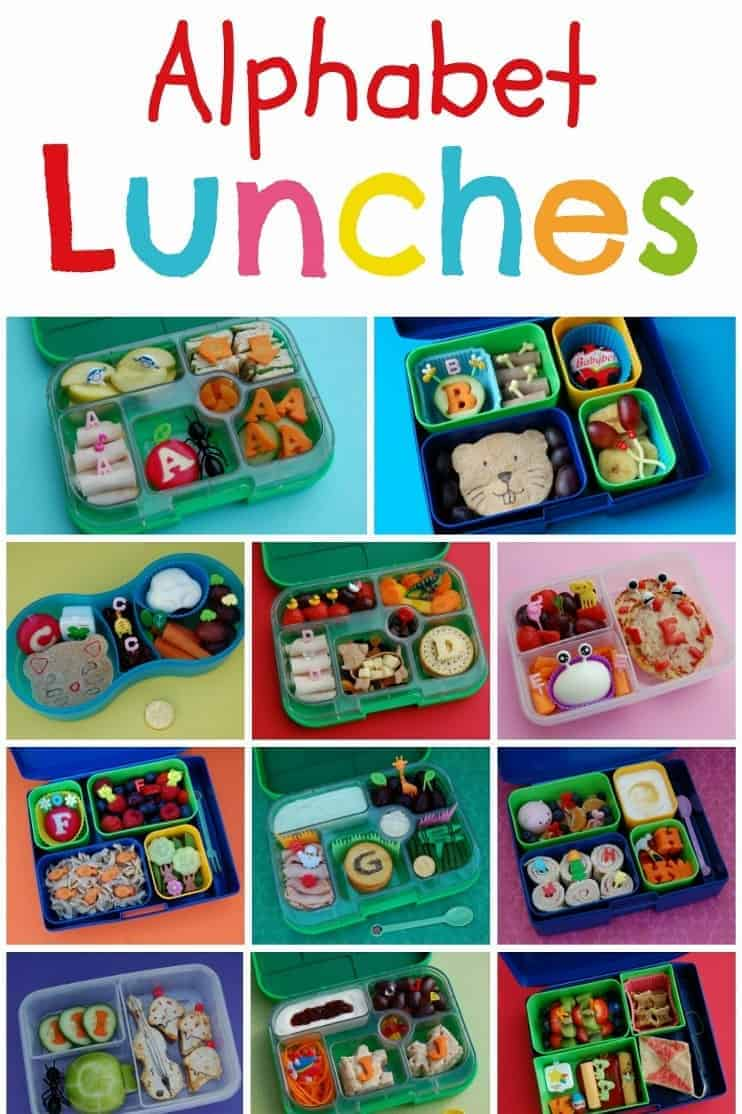 Complete Set of 26 Alphabet Themed Bento School Lunch Ideas - healthy fun food for kids #bento #lunchideas #funfood #kidsfood #kidslunch #backtoschool #lunch #lunchtime #lunchboxideas #alphabet #healthykids