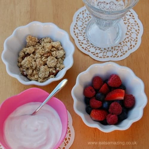Easy Healthy Breakfast Sundae Recipe - Simple Idea to make breakfast extra special for all the family - children can make their own