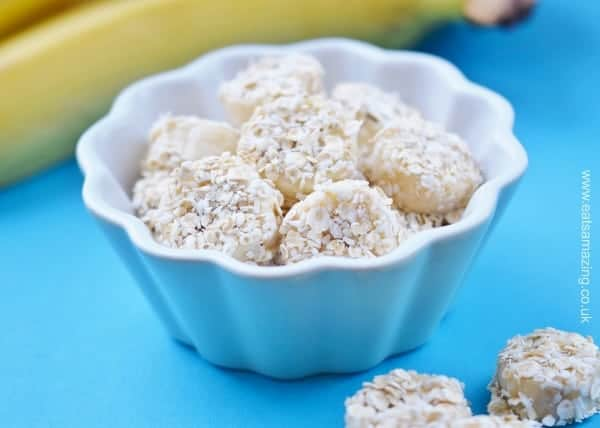 Eats Amazing UK - Frozen Banana Breakfast Bites Recipe - easy recipe for kids with free printable recipe sheet - healthy breakfast idea