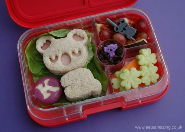 Fun Koala Themed Sandwich & Bento School Lunch with CuteZcute Cuddle Friends Cutter Kit UK