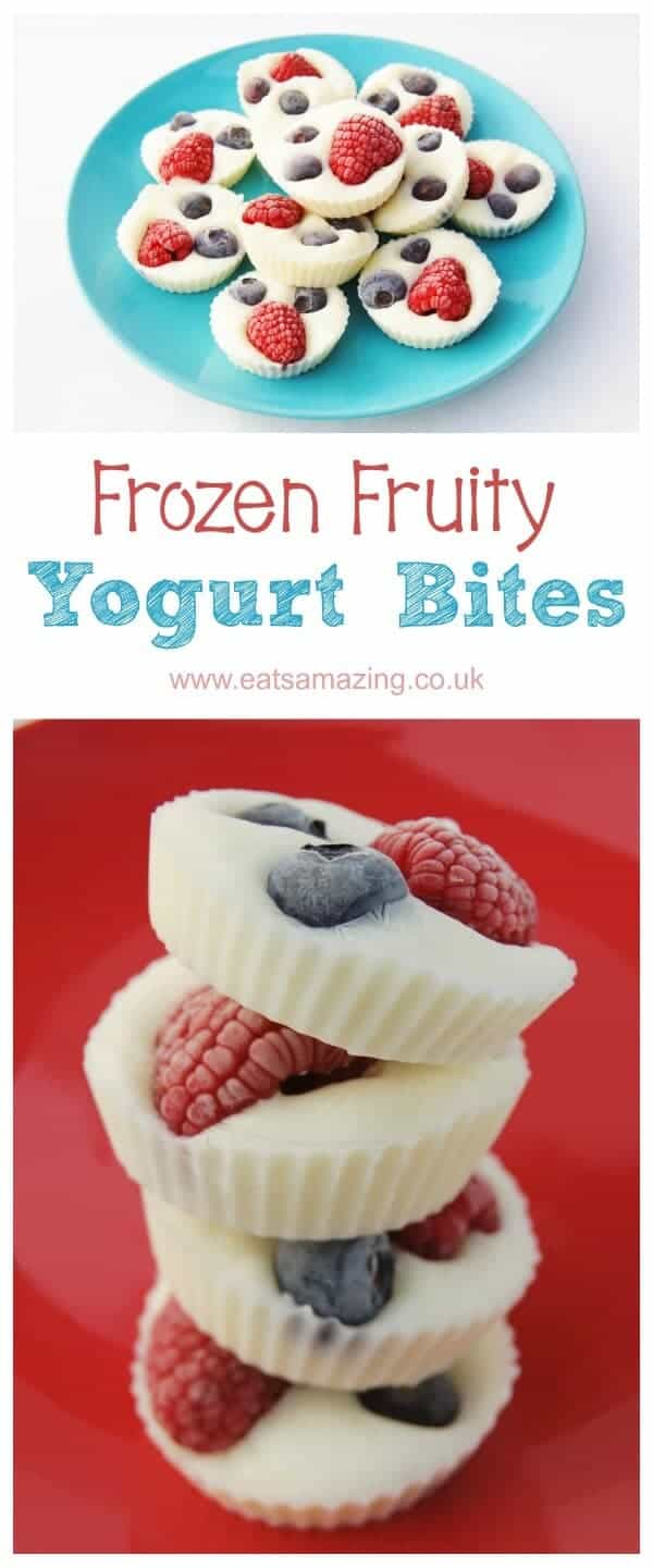 Frozen Fruity Yogurt Bites - 3 ingredient healthy snack - great quick and easy recipe for kids - Eats Amazing UK #healthysnacks #healthykids #kidsfood #yogurt #frozenyogurt #frozen #sugarfree #snacks #snackideas #3ingredient #fruits  #berries #raspberries #blueberries #cookingwithkids #kidsinthekitchen #toddlerfood #blw #babyledweaning