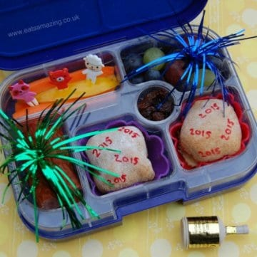 Fun kids school bento lunch idea to celebrate the first day back to school after New Year from Eats Amazing UK