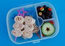 Healthy Kids Packed Lunch Idea - Tortilla Wrap Spirals on a stick from Eats Amazing UK