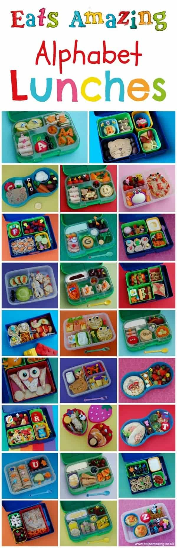 Healthy Food for Children - Complete Set of Alphabet Themed Bento School Lunch Ideas from Eats Amazing UK