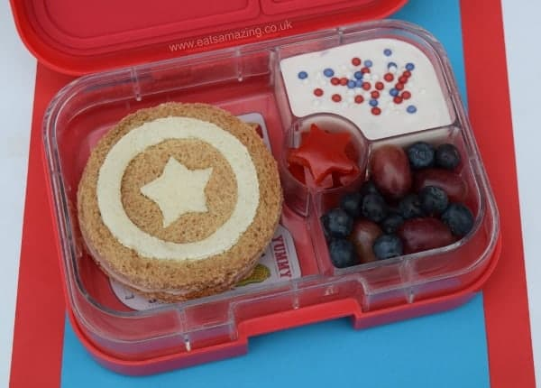 Captain America Bento Lunch with simple Captain America shield sandwich - healthy food ideas for kids from Eats Amazing UK