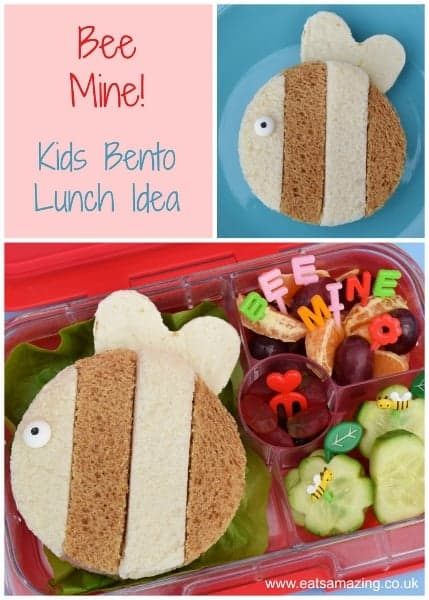 Cute Kids Bento Box Idea for Valentines Day - plus full instructions to make the bee sandwich from Eats Amazing UK