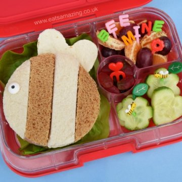 Cute Kids Valentines Bento Box idea - plus full instructions to make the bee sandwich from Eats Amazing UK