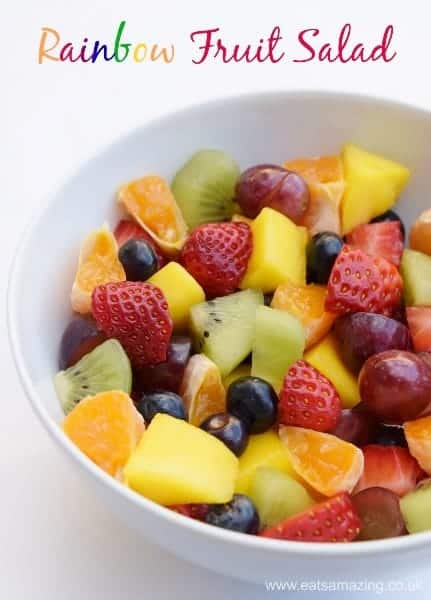Easy Rainbow Fruit Salad Recipe from Eats Amazing UK - Lovely simple recipe for cooking with kids