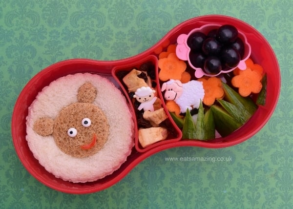 Easy sheep themed bento kids lunch with sheep sandwich from Eats Amazing UK
