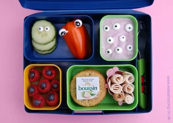 Eats Amazing UK - Simple Bento box for kids with homemade icing eyes