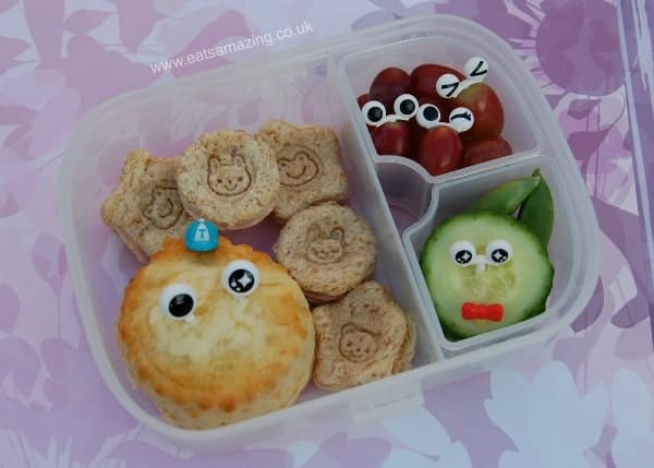 Eats Amazing UK - Simple Bento box idea for kids - cheese scone and stamped mini sandwiches