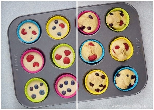 Healthy Pancake Muffins Recipe - fun breakfast idea for kids from Eats Amazing UK