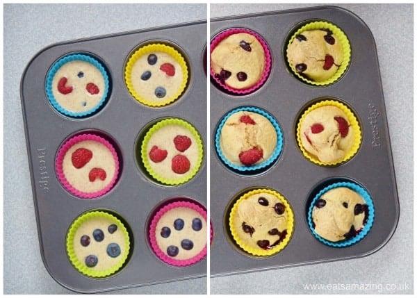 Healthy Pancake Muffins Recipe - fun breakfast idea for kids from Eats Amazing UK