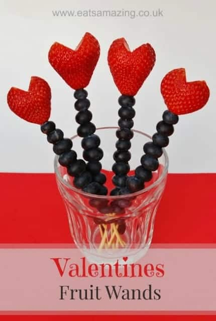 Healthy Valentines Food for Kids - Easy Fruit Skewers make a fun healthy snack idea for Valentines Day