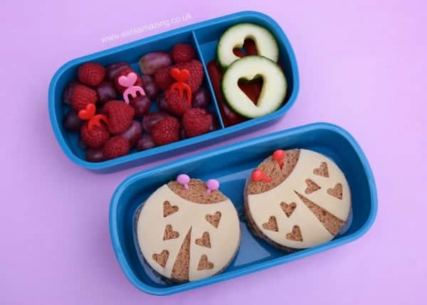 Love Bug Sandwiches - Cute Valentines Bento Lunch Idea for Kids from Eats Amazing UK