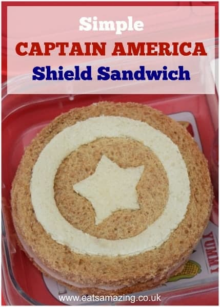 Really easy Captain America shield sandwich - fun snack, lunch or kids party food idea for a superhero party! - from Eats Amazing UK