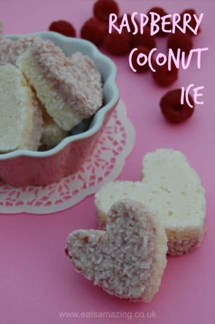 Really quick and easy raspberry coconut ice recipe made with condensed milk - only 4 ingredients
