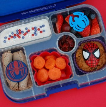 Spiderman themed bento lunch idea from Eats Amazing UK - making healthy food fun for kids