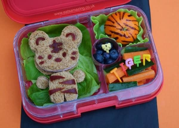 Tiger themed fun kids bento box idea from Eats Amazing UK