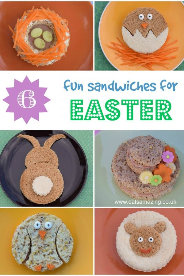 6 fun easter themed sandwiches for kids - fun and healthy Easter food for kids that is perfect for party food snacks or Easter lunches #EatsAmazing #Easterfood #kidsfood #funfood #foodart #sandwiches #easterfun #edibleart #cutefood #lunchideas #partyfood