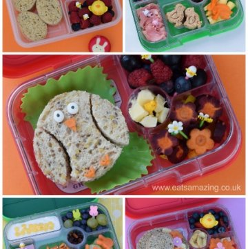A week of fun Easter bento boxes - lots of lunch box inspiration for kids - healthy Easter food from Eats Amazing UK