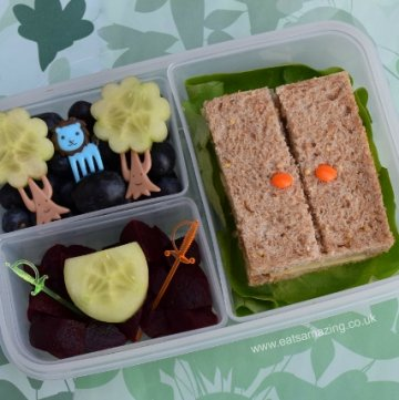 Book Bento Lunch - The Lion The Witch and the Wardrobe with simple wardrobe sandwich - healthy fun food for kids from Eats Amazing UK