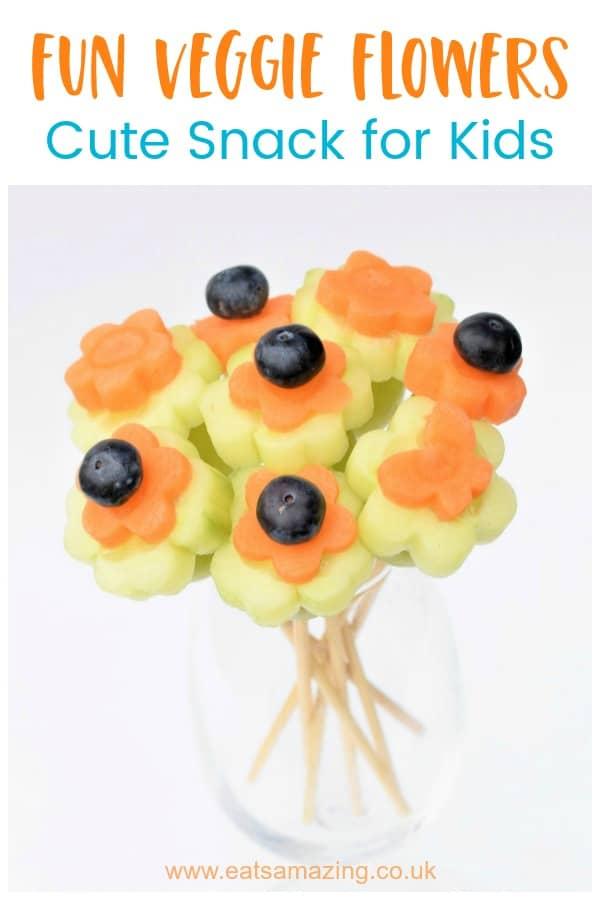 Fun and easy fruit and vegetable bouquet - kids will love making and eating this fun healthy snack #EatsAmazing #kidsfood #funfood #foodart #edibleart #edibleflowers #Easterfood #kidsactivities #Easterfun #cutefood #healthykids