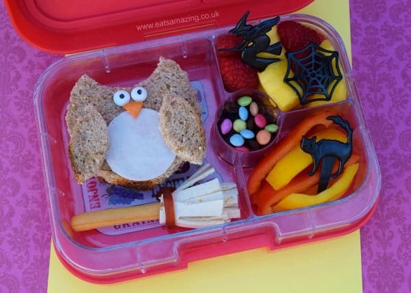 Harry Potter food - Harry Potter bento lunch for kids with simple owl sandwich from Eats Amazing UK