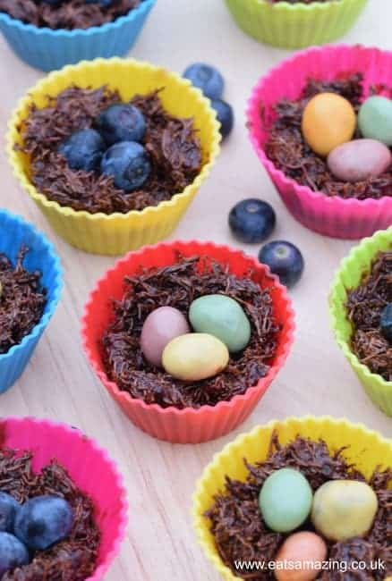 Healthy Chocolate Nests Recipe from Eats Amazing UK - Dairy Free and free from refined sugar - great for cooking with kids