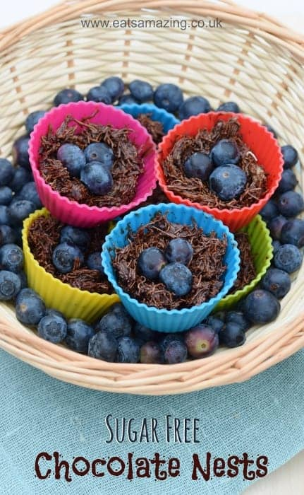 Healthy Chocolate Nests recipe from Eats Amazing UK - Dairy Free and free from refined sugar too - clean eating vegan recipe