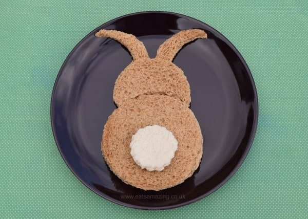 Healthy Easter food ideas for kids - fun kids sandwich idea - bunny sandwich made with a simple circle cutter