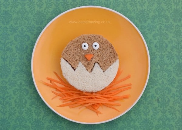 Healthy Easter food ideas for kids - fun kids sandwich idea - chick in egg made with a simple circle cutter