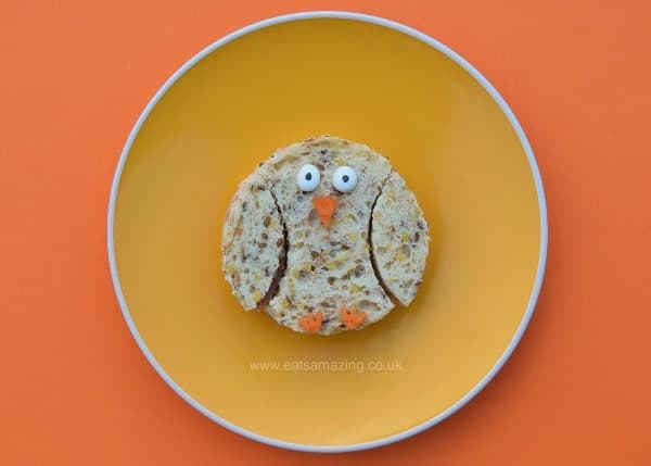 Healthy Easter food ideas for kids - fun kids sandwich idea - cute chick made with a simple circle cutter