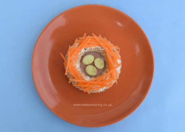Healthy Easter food ideas for kids - fun kids sandwich idea - edible nest made with simple circle cutters