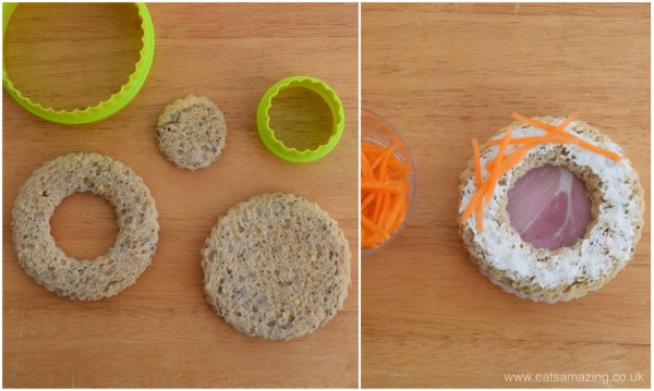 Healthy Easter food ideas for kids - fun kids sandwich idea - how to make a nest sandwich with simple circle cutters
