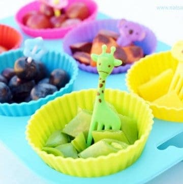 Healthy rainbow food for kids - present food in a muffin tin with cute bento picks to tempt picky eaters to try new things