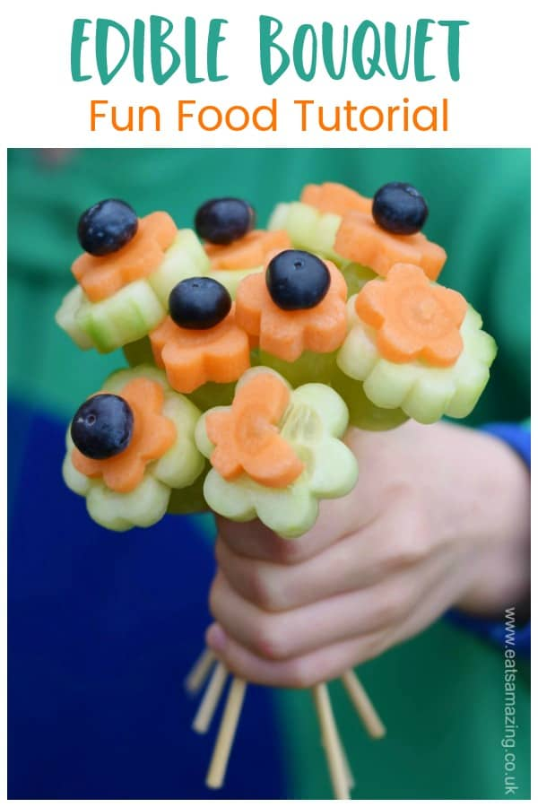How to make a fun and easy edible bouquet from fruit and vegetables - healthy fun food idea for kids #EatsAmazing #kidsfood #funfood #foodart #edibleart #edibleflowers #Easterfood #kidsactivities #Easterfun #cutefood #healthykids