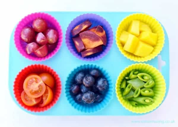 Make a bright rainbow platter of different foods to tempt kids to try new things - Eats Amazing UK - healthy and fun food for kids