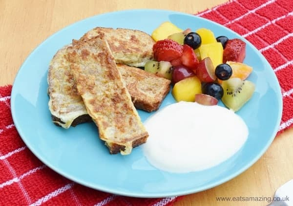 Simple Eggy Bread recipe for kids - serve with fresh fruit and yoghurt for a healthy family friendly breakfast