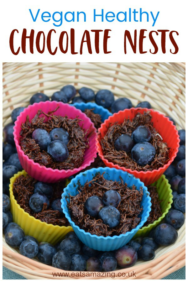 Vegan Chocolate Nests recipe with homemade coconut oil chocolate - dairy free and free from refined sugar for a healthy Easter treat #EatsAmazing #Easterfood #easterecipe #kidsfood #veganrecipes #dairyfree #refinedsugarfree #healthykids #chocolate #coconutoil #funfood
