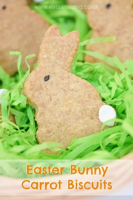 Easter Bunny Carrot Biscuits Recipe - easy and fun project for kids to make this Easter