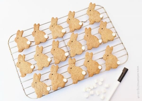 Easter Bunny Carrot Biscuits Recipe - fun and simple project for kids to make this Easter