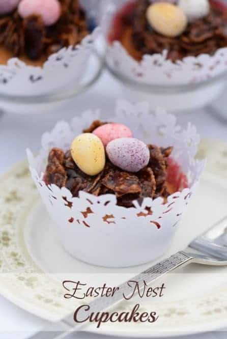 Easter Nest Cupcakes Recipe - cupcake and chocolate nest in one - a delicious treat for Easter