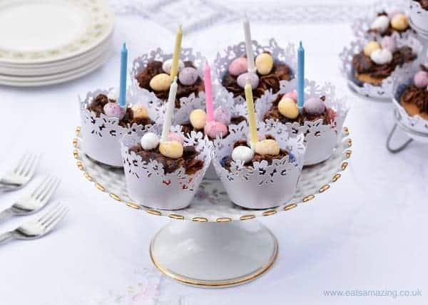 Easter Nest Cupcakes Recipe - cupcake and chocolate nest in one - a delicious treat for an Easter birthday