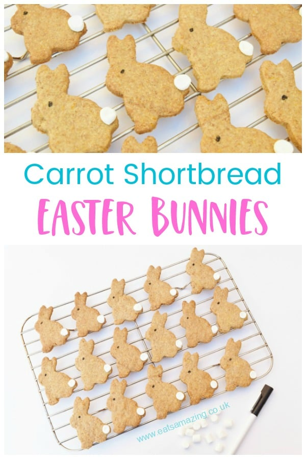 Easy Easter Bunny cookies recipe - fun rabbit shaped shortbread with real carrots inside #EatsAmazing #easterfood #easterrecipes #easterbunny #cookies #shortbread #hiddenveg #kidsfood #bakingwithkids #easter #funfood