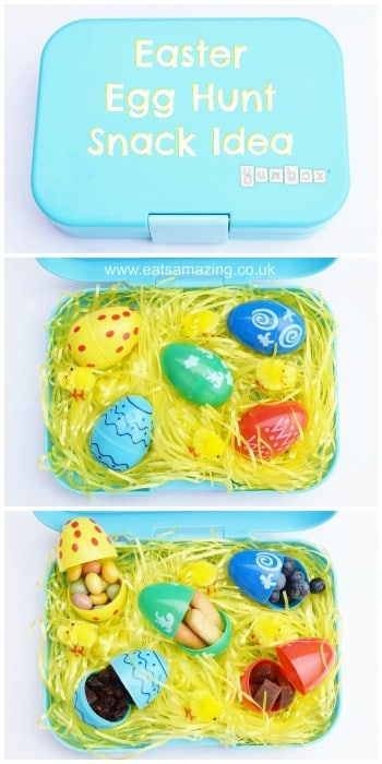 Fun Easter Snack Idea for Kids from Eats Amazing UK - Fill plastic eggs with finger foods - with lots of food ideas #easter #funfood #kidsfood #easterfood #egghunt #eastergghunt #snackbox #yumbox #easterkids #healthykids #bentobox #bento
