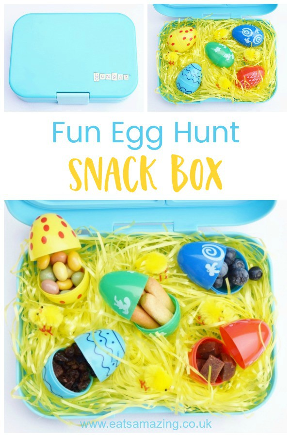 Fun Easter snack idea for kids - fill plastic eggs with finger foods - check out the post for lots of finger food ideas that fit in the eggs #EatsAmazing #easterfood #egghunt #eastergghunt #snackbox #easter #funfood #kidsfood #yumbox #easterkids #healthykids #bentobox #bento