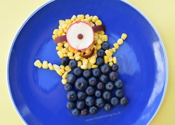 Fun and easy minion food art snack for kids with quick video instructions - extra fun healthy food for kids from Eats Amazing
