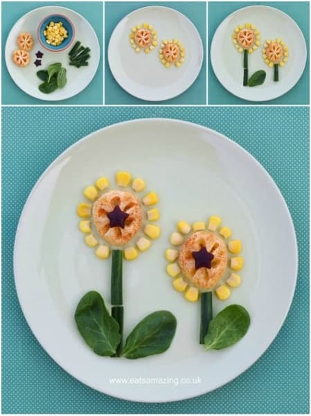 Fun, healthy and easy Food Art Plates for toddlers - fun flower snack with full instructions from Eats Amazing UK