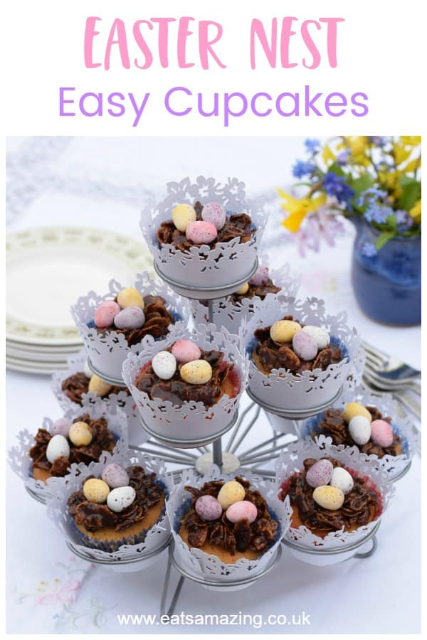 Yummy Easter Nest Cupcakes recipe - a delicious vanilla cupcake base with a traditional chocolate crispy Easter Nest on top #EatsAmazing #Easterfood #cupcakes #cupcakerecipes #easterfun #baking #minieggs #chocolaterecipes #easteregg #kidsfood #desserts